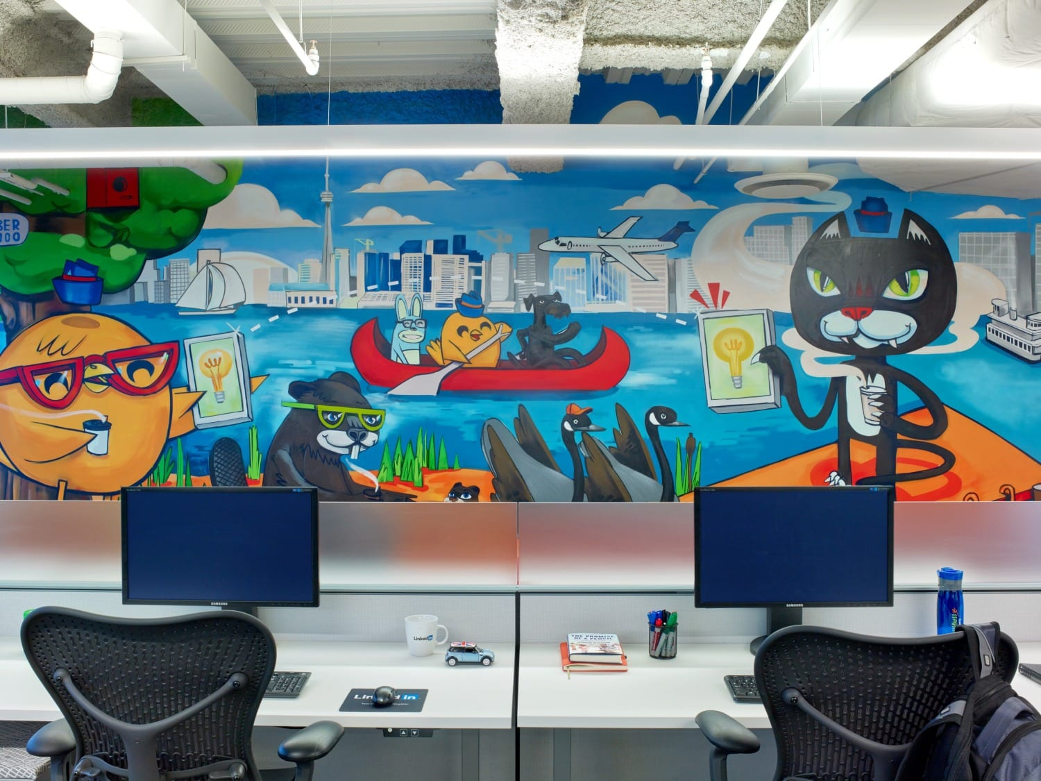 LinkedIn Wall Mural with Cat