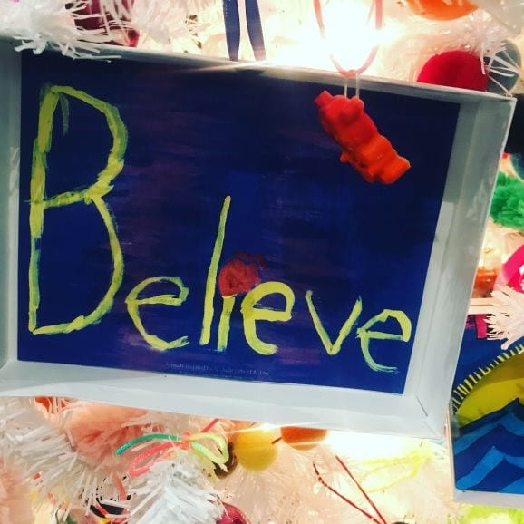 St. Jude's patients painted decorations to adorn an IA holiday tree.
