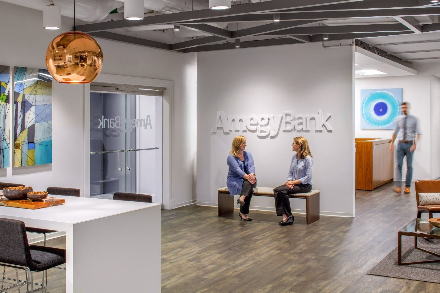 The entrance area at the Amegy Bank office in Fort Worth, Texas.