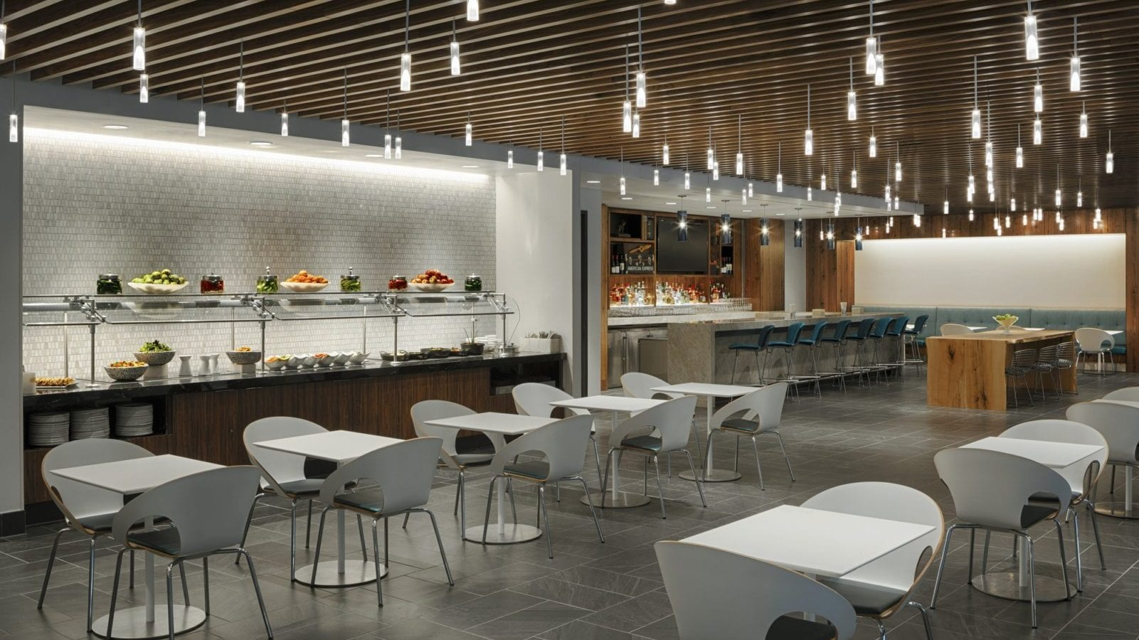 The American Express Centurion Lounge benefits from an abundance of natural light.