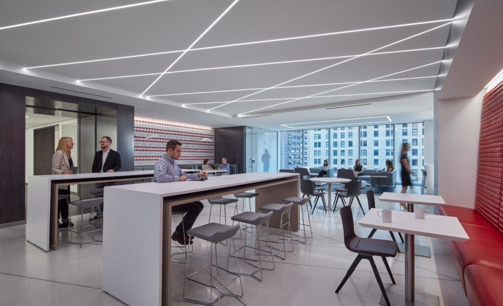 Cafe space at the CNA Headquarters in Chicago.